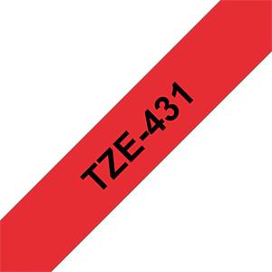 laminiertes Schriftband, schwarz auf rot, 12mm BROTHER TZE431