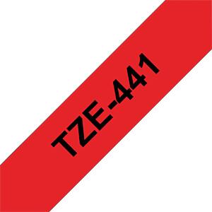 laminiertes Schriftband, schwarz auf rot, 18 mm BROTHER TZE-441