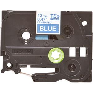 laminiertes Schriftband, weiß auf blau, 12 mm BROTHER TZE-535