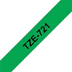 laminiertes Schriftband, schwarz auf grün, 9 mm BROTHER TZe-721