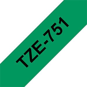 laminiertes Schriftband, schwarz auf grün, 24 mm BROTHER TZe-751