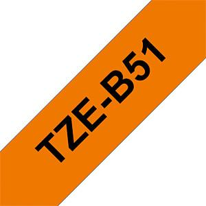 laminiertes Schriftband, schwarz auf signalorange, 24mm BROTHER TZE-B51
