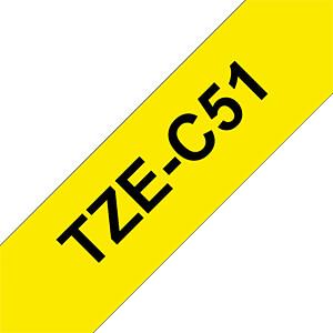 laminiertes Schriftband, schwarz auf signalgelb, 24mm BROTHER TZE-C51