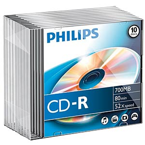 Philips CD-R 700, 52x Speed, Slimcase 10 PHILIPS CR7D5NS10/00