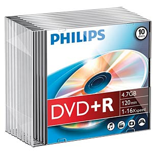 Philips DVD+R 4.7 GB, 16x speed, 10 Slimcase PHILIPS DR4S6S10F/00