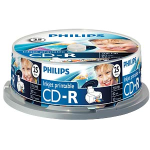 Philips CD-R 700, 52x speed, 25 spindle, printable PHILIPS CR7D5JB25/00