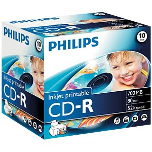 Philips CD-R 700, 52x Speed, Jewelcase 10, print PHILIPS CR7D5JJ10/00