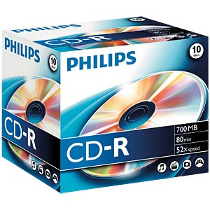Philips CD-R 700, 52x speed, 10 Jewelcase PHILIPS CR7D5NJ10/00