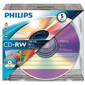 Philips CD-RW 700, 4-12x Speed, Slimcase 5 PHILIPS CW7D2CC05/00