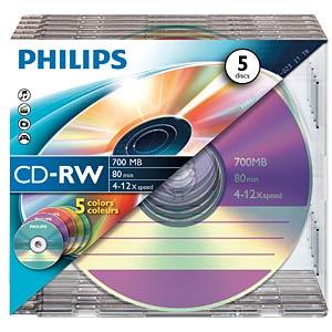 Philips CD-RW 700, 4-12x speed, 5 Slimcase PHILIPS CW7D2CC05/00
