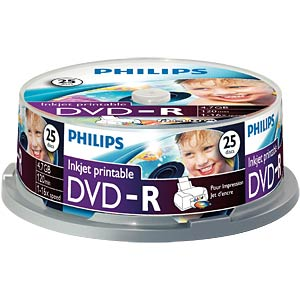 Philips DVD-R 4.7GB, 16x Speed, Spindel 25, pr PHILIPS DM4I6B25F/00