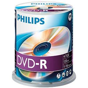 Philips DVD-R 4.7 GB, 16x Speed, Spindle 100 PHILIPS DM4S6B00F/00