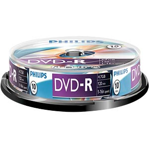 Philips DVD-R 4.7 GB, 16x Speed, Spindle 10 PHILIPS DM4S6B10F/00