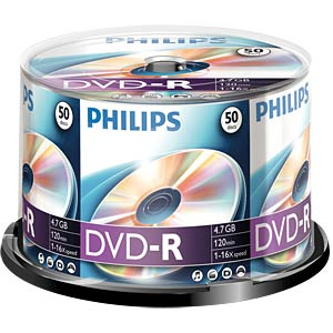 Philips DVD-R 4.7 GB, 16x Speed, Spindle 50 PHILIPS DM4S6B50F/00