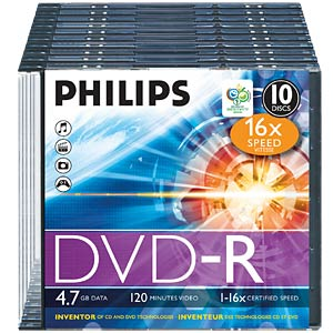 Philips DVD-R 4.7 GB, 16x Speed, Slimcase 10 PHILIPS DM4S6S10F/00