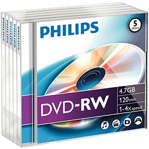 Philips DVD-RW 4.7 GB 4x speed, 5 Jewelcase PHILIPS DN4S4J05F/00