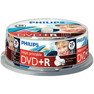 Philips DVD+R 4.7GB, 16x Speed, Spindel 25, pr. PHILIPS DR4I6B25F/00