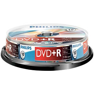 Philips DVD+R 4.7 GB, 16x Speed, Spindel 10 PHILIPS DR4S6B10F/00