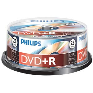Philips DVD+R 4.7 GB, 16x Speed, Spindel 25 PHILIPS DR4S6B25F/00