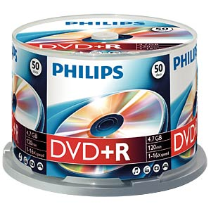 Philips DVD+R 4.7 GB, 16x Speed, Spindel 50 PHILIPS DR4S6B50F/00