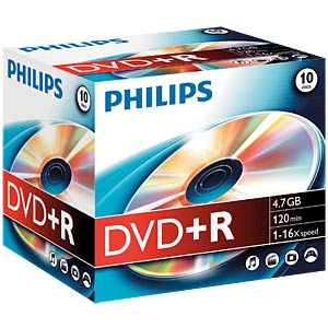 Philips DVD+R 4.7 GB, 16x Speed, Jewelcase 10 PHILIPS DR4S6J10C/10
