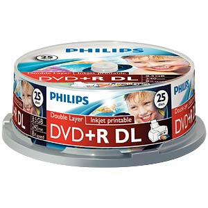 Philips DVD+R 8.5 GB, 8x Speed, Spindle 25, print PHILIPS DR8I8B25F/00