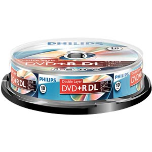 Philips DVD+R 8.5 GB, 8x Speed, Spindle 10 PHILIPS DR8S8B10F/00