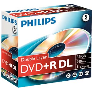 Philips DVD+R 8.5 GB/8x speed, 5 Jewelcase PHILIPS DR8S8J05C/00