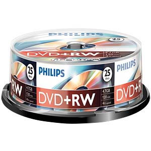 Philips DVD+RW 4.7, 4x speed, 25 spindle PHILIPS DW4S4B25F/00