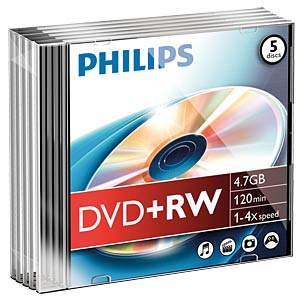 Philips DVD+RW 4.7, 4x Speed, Slimcase 5 PHILIPS DW4S4S05F/10