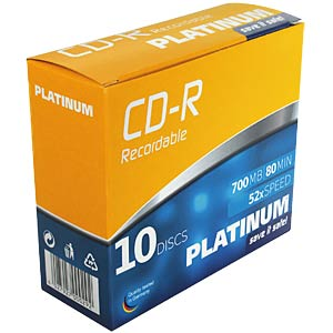 PLATINUM CDR 80min/700MB 52x, 10-Slim Case PLATINUM 100144