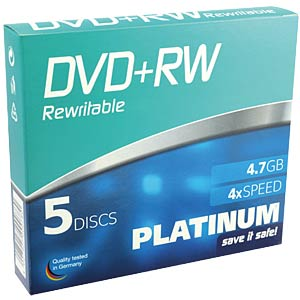 PLATINUM DVD+RW 4,7 GB, 120 min, 4x, 5-Pack SC PLATINUM 100161