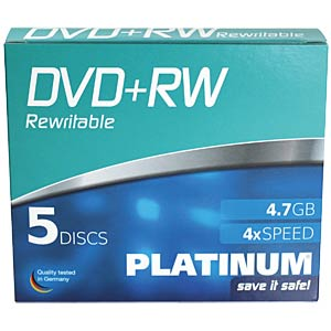 DVD+RW 4,7 GB, 5-Pack SlimCase PLATINUM 100161