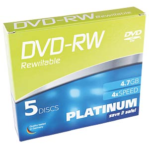 PLATINUM DVD-RW 4,7 GB, 120 min, 4x, 5-Pack SC PLATINUM 102570