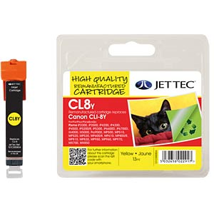Tinte, gelb - CLI-8 - refill JET TEC 101C000804