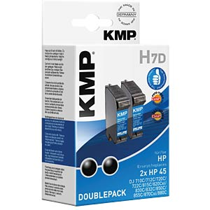 Tinte - HP - schwarz - 2x HP 45 - refill KMP PRINTTECHNIK AG 0927,4021