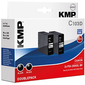 Tinte, schwarz - 2x PGI-2500XL BK KMP PRINTTECHNIK AG 1565,0021
