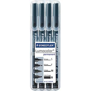 Permanent Stift-Set S/ F/ M/ B, schwarz STAEDTLER 319WP4GS
