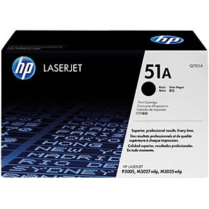 Toner for HP LaserJet P3005 series, black HEWLETT PACKARD Q7551A