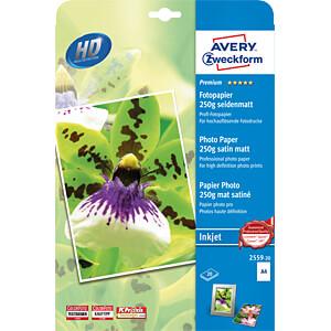 DIN A4, Inkjet, Fotopapier, 250 g/m², 20 Blatt, seidenmatt AVERY ZWECKFORM 2559-20