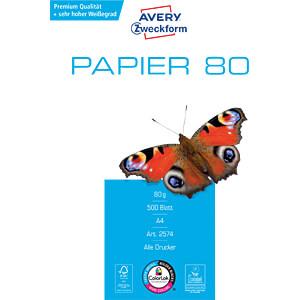 DIN A4, Papier, 80 g/m², 500 Blatt AVERY ZWECKFORM 2574
