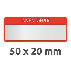 Inventar-Etiketten, wasserfest, 50 x 20 mm, 50 Stück, rot AVERY ZWECKFORM 6907