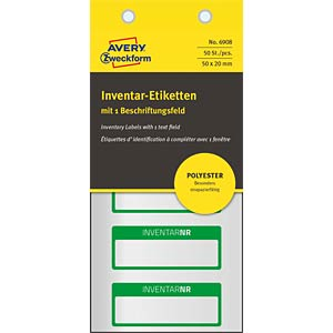 Inventaris-labels, 50x20mm, groen AVERY ZWECKFORM 6908