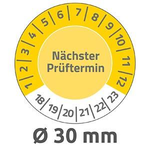 Prüfplaketten, wasserfest, Ø 30 mm, 80 Stück, gelb AVERY ZWECKFORM 6934