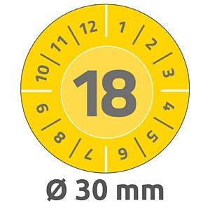 Prüfplaketten, 2018, wasserfest, Ø 30 mm, 80 Stück, gelb AVERY ZWECKFORM 6942
