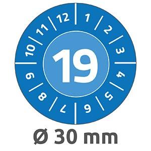 Prüfplaketten, 2019, wasserfest, Ø 30 mm, 80 Stück, blau AVERY ZWECKFORM 6946