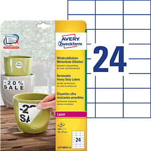 Folien-Etiketten, wasserfest, eckig, 70 x 37 mm, 480 Stück, weiß AVERY ZWECKFORM L4718REV-20