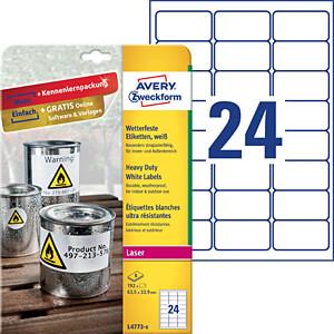 Folien-Etiketten, wasserfest, 63,5 x 33,9 mm, 192 Stück, weiß AVERY ZWECKFORM L4773-8