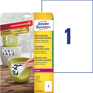 Folien-Etiketten, wasserfest, eckig, 210 x 297 mm, 8 Stück, weiß AVERY ZWECKFORM L4775REV-8