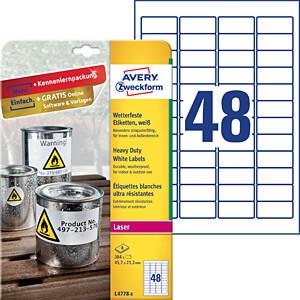 Folien-Etiketten, wasserfest, 45,7 x 21,2 mm, 384 Stück, weiß AVERY ZWECKFORM L4778-8